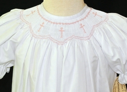 Amanda Remembered Smocked Pink Crosses Dress