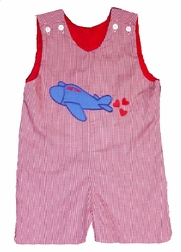 Custom Made Boy's Valentine Airplane Hearts Outfit
