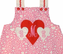 Custom Made Girl's Monogrammed Valetine Hearts Dress.
