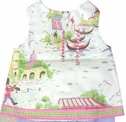 Custom Made Girl's World Cities Toile Dress Outfit.
