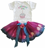 Birthday Girl Tutu And Cupcake Shirt.