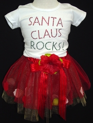 Girl's Christmas Tutu Santa Rocks Girl Shirt And Tutu.