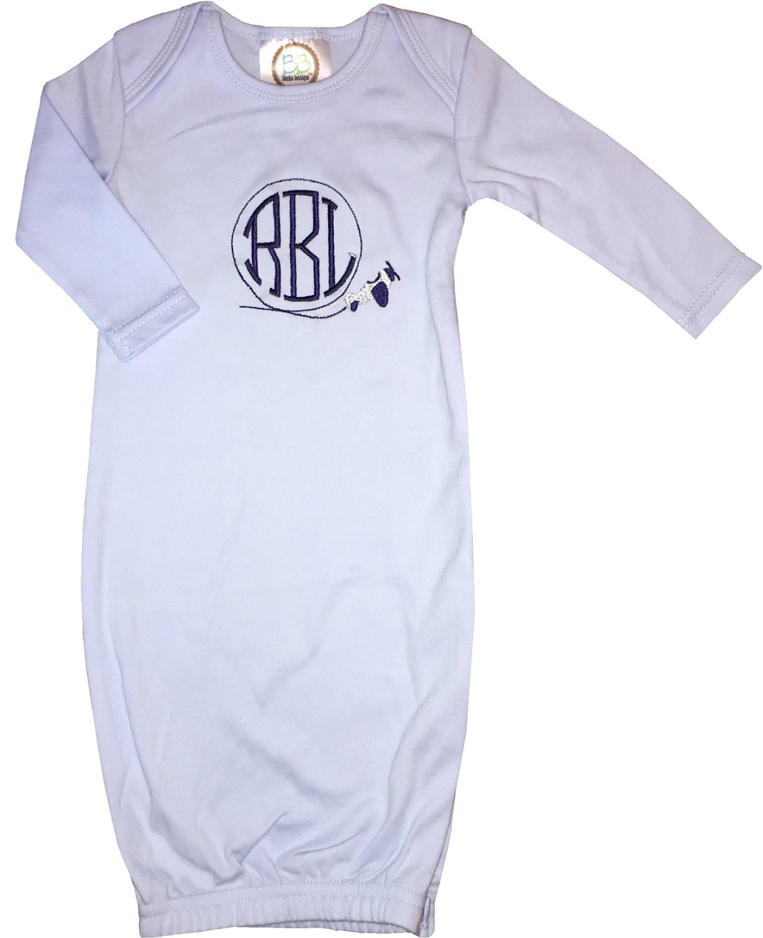 Baby Boy\'s Monogrammed Personalized Airplane Infant Gown Sleeper in ...