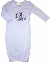 Baby Boy's Monogrammed Personalized Airplane Infant Gown Sleeper in Light Blue