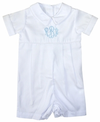 Baby Infant and Toddler Boy Christening-Baptism Outfit or Easter Outfit Monogrammable White Romper