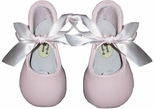 Baby Girl's Pink or White Leather Ballet Satin Ribbon Shoes