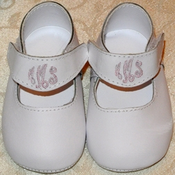 Monogrammed Baby Girl Shoes, Personalized Baby Girl Leather Shoes