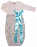 Baby Girl's Monogrammable Gown Sleeper in Gray Quatrefoil and Turquoise