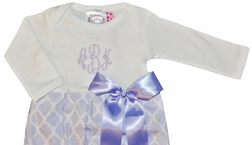 Baby Girl's Monogrammable Gown Sleeper in Lavender Quatrefoil