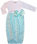 Baby Girl's Monogrammable Gown, Sleeper in Mint/Turquoise Quatrefoil