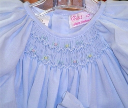 Baby Girl's Smocked Dress & Bonnet, Pink, Blue, White or Yellow