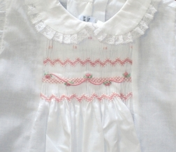 Baby Girl's Smocked White Day Gown, Pink Rosebuds By Maria Elena.