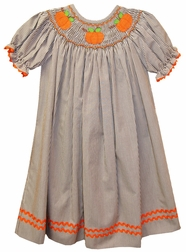 Banana Split Bishop Smocked Dress with Pumpkins