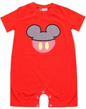 Banana Split Boy's Red Romper with Coming and Going Mickey