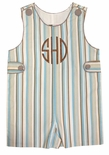 Banana Split Brown and Blue Stripe Monogrammable John John with Button Tabs