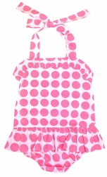 Banana Split Girl's Pink Polka Dots Monogrammable 1 Piece Swim Suit