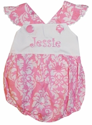 Banana Split Monogrammable Baby Girl's Cross Back Bubble in Pink Damask