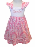 Banana Split's Monogrammable Dress in Pink Damask