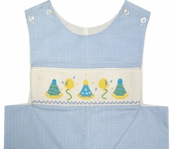 Banana Split Smocked Birthday John John in Blue