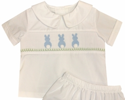 Banana Split Smocked Boy's Easter Bunny Blouse and Shorts