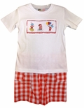 Banana Split Smocked Cat in the Hat Boy's Shirt and Shorts Outfit