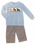 Banana Split Smocked Labrador Puppy Pants Outfit