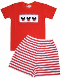 Banana Split Smocked Mickey Red Shirt and Shorts Set