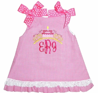Tremendous Birthday Cake Monogram Topper Dress Or Outfit In Hot Pink Gingham Funny Birthday Cards Online Alyptdamsfinfo