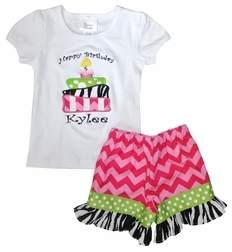Custom Girl's Birthday Cake Outfit in Zebra & Chevron