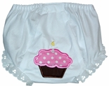 Monogrammed Personalized Birthday Cupcake Girl's Bloomers.