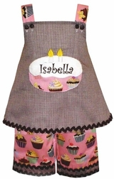 Custom Made Girl's Cupcakes Fabric Birthday Dress Outfit.