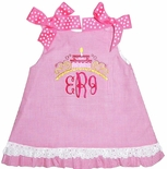 Birthday Cake Monogram Topper Dress or Outfit in Hot Pink Gingham and Eyelet