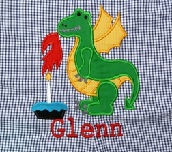 Boy's Personalized Birthday Dragon Blowing out His Candles Outfit