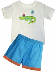 Custom Birthday Alligator Birthday Hat & Balloons Boy's Outfit