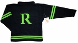 Children's Monogrammed Sweater In Black And Lime Green.