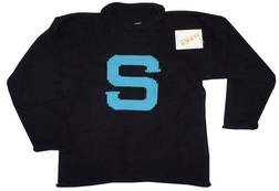 Children's Monogrammed Sweater In Black And Turquoise.