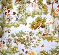 Blue Girl's Tea Party Toile