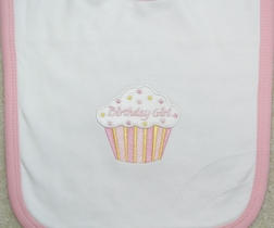Cupcakes Birthday Bib for Girls Boys in Blue Or Pink