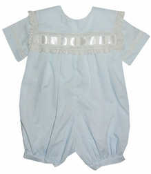 Heirloom Boy's Bubble, John John with Lace Woven Ribbon Collar