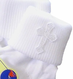 Boy's Christening Socks With Embroidered Crosses