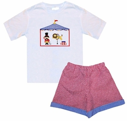 Boy's Circus Outfit or Birthday Outfit with a Lion Tamer/Ringmaster and Lion Putting on their Show in a Circus Tent
