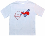 Boy's Custom Valentine Shirt with Airplane and Heart