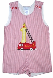 Boy's 1st Birthday, Birthday Fire Engine Truck Custom Outfit