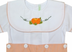 Boy's Hand Embroidered Pumpkin Collar Button On