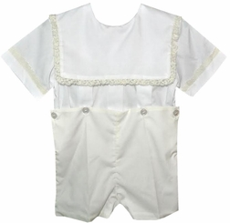 Heirloom Boy's Button On or Blouse over Shorts with Lace Trimmed Square Collar