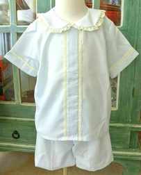 Boy's Heirloom Special Occasion Bubble Button On or Blouse over Shorts with Lace Trimmed Center Pleat