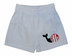Funtasia Boy's Monogrammable Light Blue Gingham Swim Suit
