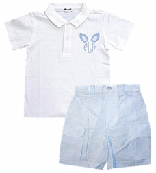 Boy's Monogrammed Bunny Ears Polo Shirt &Shorts Outfit