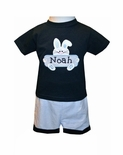 Boy's Monogrammed Easter Bunny Shirt and Trousers Outfit