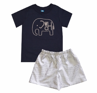 f8755a60 Boy's Monogrammed Elephant with Navy Shirt and Elephants Fabric Shorts or  Gray Stripe Seersucker Shorts Outfit Also Available in a John John and  Longall